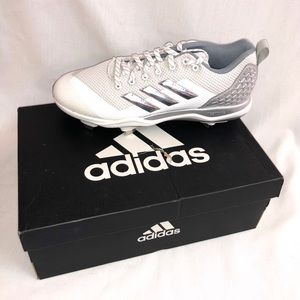Adidas Mens Baseball Cleats White & Silver Size 9